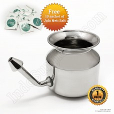 Stainless Steel Jala Neti Pot 500ml With 10 Sachet of Neti Salt