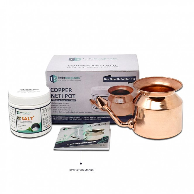 Copper Jala Neti Pot with Neti Salt Plus