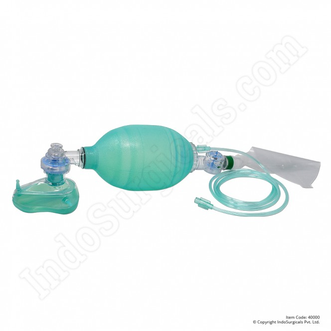 Artificial Resuscitator, Silicone Green Color, Adult
