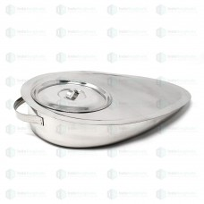 Bed Pan with Lid - Stainless Steel