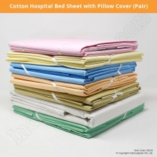 Hospital Cotton Bed Sheet with Pillow Cover (Pair)
